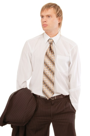 counterbalanced: young business man, isolated on white background.