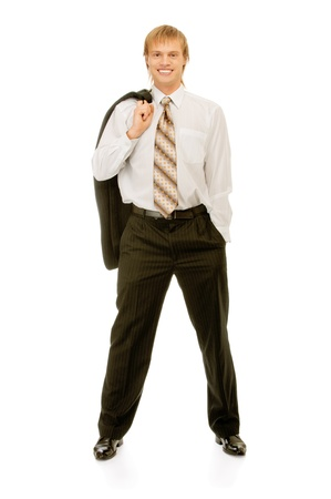 counterbalanced: full-length portrait of businessman, isolated on white background.