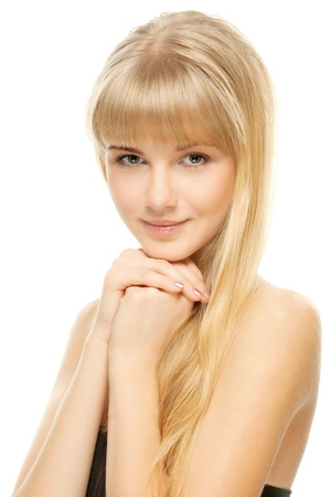 Closeup portrait of young beautiful woman after bath, isolated on wite background Stock Photo