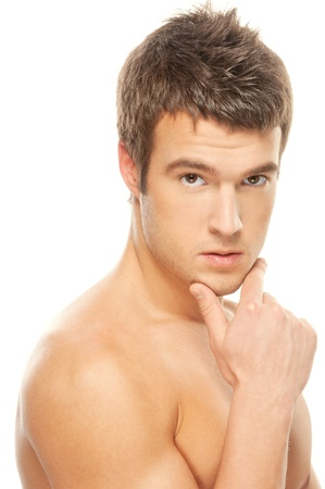 male athlete: Portrait of a pensive male athlete muscular isolated on a white background