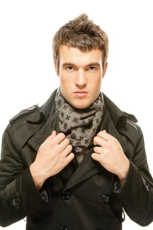 expressive mood: portrait of beautiful young man in a black jacket, isolated on white background.