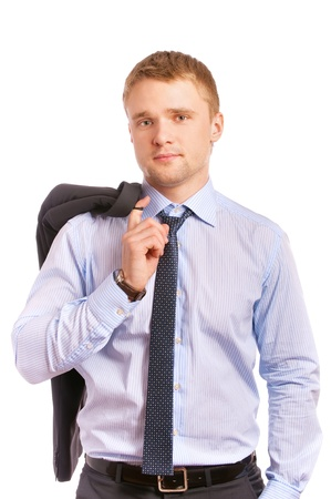 Young businessman holds jacket behind shoulder and smiles enough, is isolated on white background. Stock Photo - 9429227