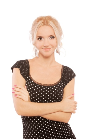 Charming blonde in dark dress, isolated on white background. Stock Photo - 9499638