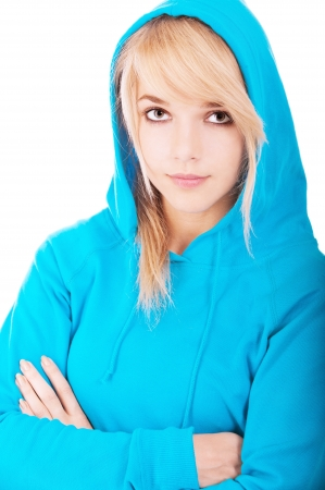 Beautiful young woman in blue hood close up, isolated on white background. photo