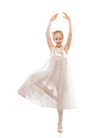portrait of blonde kid ballet dancer on white Stock Photo - 9590461