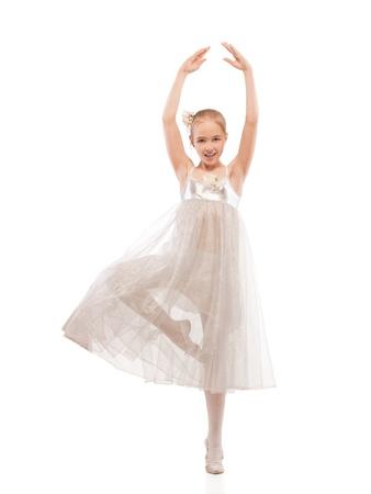 Retrato de bailarina rubia kid en blanco Foto de archivo - 9590461