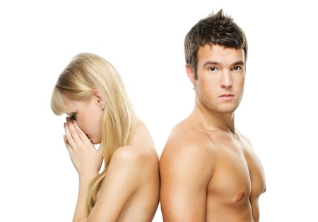 shoulder problem: Two young people: beautiful blonde woman and handsome brunette man against white background.