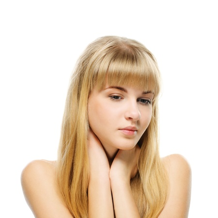 ravishing: Portrait of young attractive fair-haired woman against white background.