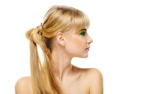 perfil de mujer rostro: Retrato de joven rubia sobre fondo blanco. Foto de archivo