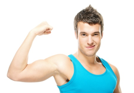 ravishing: Portrait of young handsome dark-haired man wearing blue t-shirt, holding his arm up to show how strong he is against white background. Stock Photo