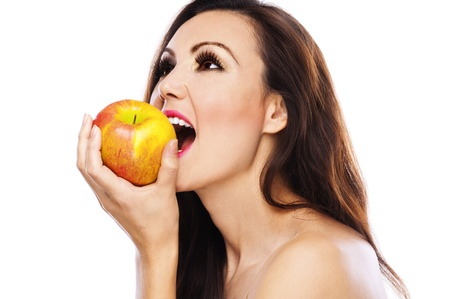 nude woman beautiful attractive profile long dark hair yellow apple bites photo
