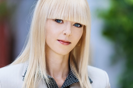 portrait beautiful young business blonde jacket photo