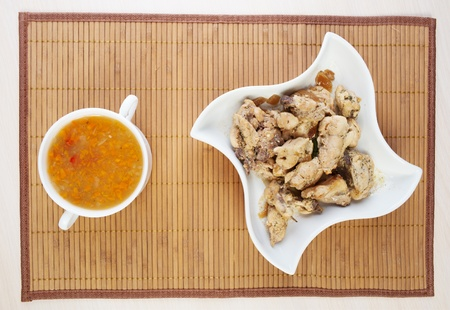 closeup soup, stew chicken napkins beautiful white dish background table Stock Photo - 11254411