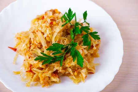stew cabbage decorated parsley