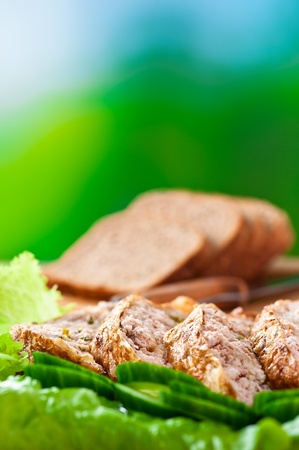 aromatic cut meatloaf (beef, pork, veal), cucumbers, lettuce, sliced ​​rye bread, cutting board on background outdoors photo