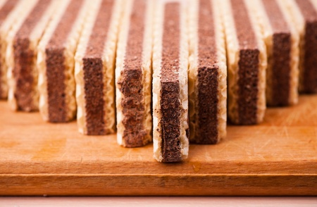 chocolate waffles beautifully laid out on wooden cutting board Stock Photo - 11480659