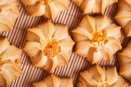 mouthwatering: against background of bamboo cloth is crunchy biscuits