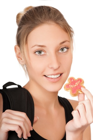 pretty young woman with cake isolated on the white background  photo