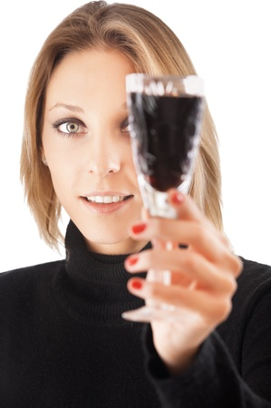beautiful young girl with glass of wine isolated on white background photo