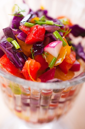 Beets, Carrots, Turnips, Pickles and Onion Salad Known as Russian salad photo