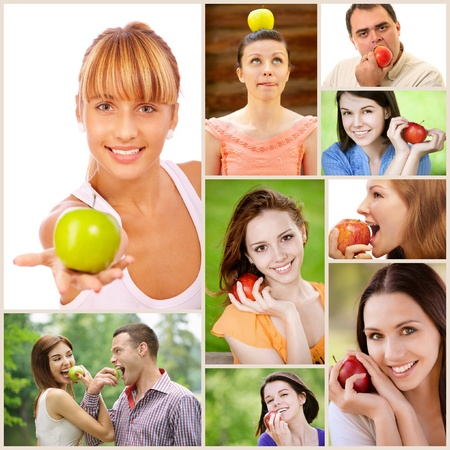 Collage of cheerful young beautiful women and men with apples. photo