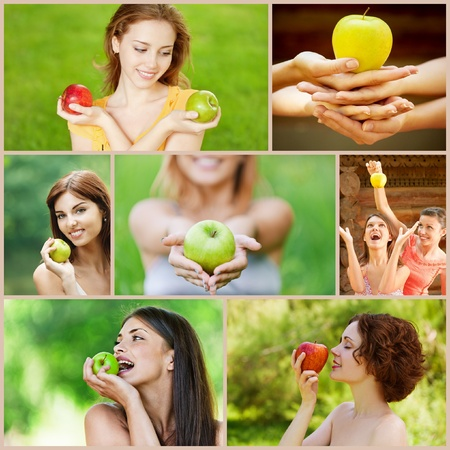 Collage of cheerful young beautiful women with apples on green summer park. photo
