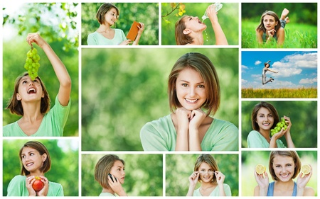 Collage of cheerful young beautiful woman eating grapes, apple and lemon, reading book, jumping on meadow, talking on cell phone, lying on grass in summer city park. photo