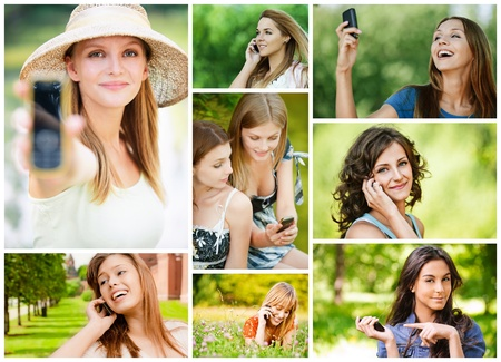 Collage of beautiful young women talking on cell phone and read sms in summer city park.