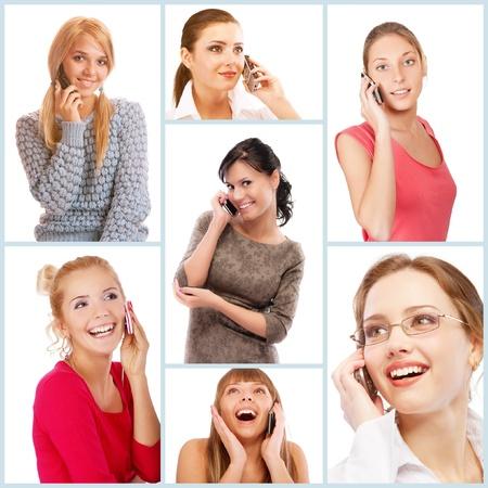 conversaciones: Collage de alegres mujeres jóvenes y bellas que hablan por teléfono celular y sonriendo, aislado en fondo blanco.