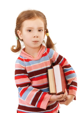 tresses: Beautiful little girl in striped sweater holding two big books, isolated on white background. Stock Photo