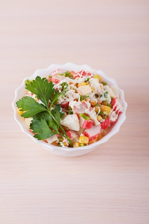 viands: Crab salad with mayonnaise on light table. Stock Photo