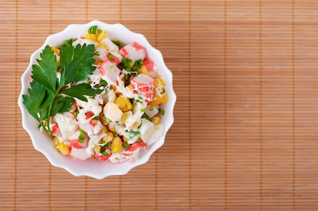 viands: Crab salad with mayonnaise on table. Stock Photo