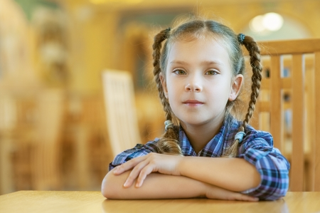 Little beautiful girl with pigtails sitting on wooden desk  photo