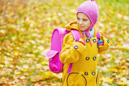 Beautiful little girl with pink backpack goes to school in yellow autumn park  Stock Photo - 16639233
