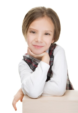 Portrait of beautiful smiling young girl, isolated on white background. photo