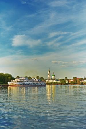 the volga river: Church of St. Catherine, Tver, estuary Tvertsa