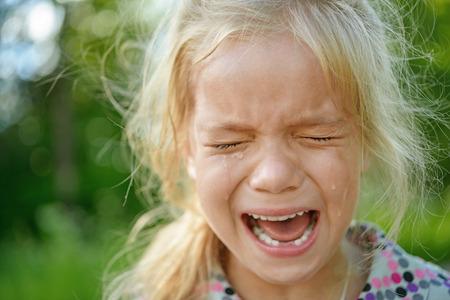 Beautiful sad little girl crying photo