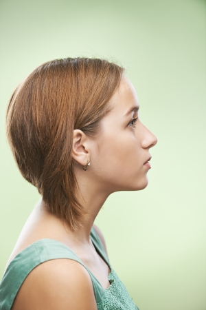 visage femme profil: Profil de la belle jeune femme Banque d'images