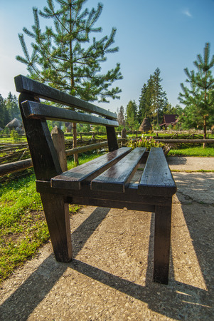 installed: Wooden bench that was installed in Park.