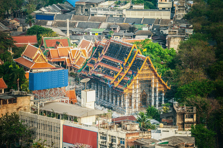 grand palace: Bangkok in Thailand, view from skyscraper. Stock Photo