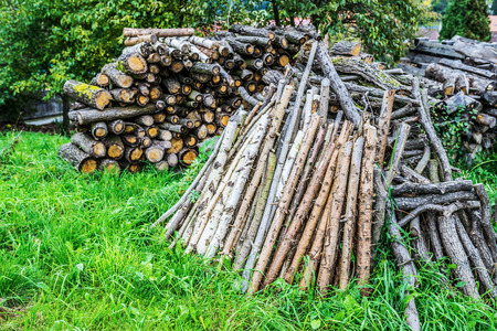uncouth: Uncouth wooden logs on personal subsidiary plots. Stock Photo