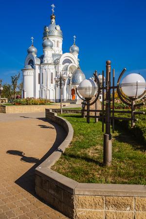 michael the archangel: Orthodox Memorial Church of Archangel Michael. Bereza city, Belarus Stock Photo