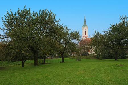michael: Roman Catholic kostel of St. Michael Archangel. Svabenice is small town in Vyskov District in South Moravian Region of Czech Republic. Stock Photo
