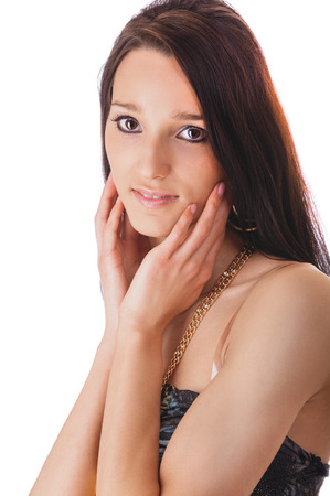 fair complexion: Young beautiful brunette with dismissed hair smiles.
