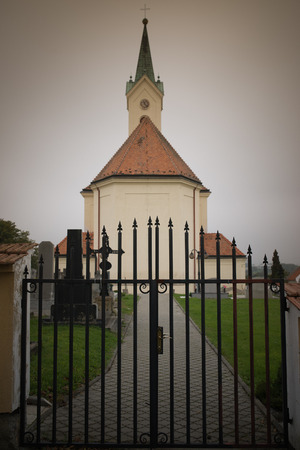 michael the archangel: Roman Catholic kostel of St. Michael Archangel. Svabenice is small town in Vyskov District in South Moravian Region of Czech Republic. Stock Photo
