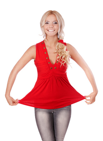 hygeine: Portrait of blonde girl in red blouse on white