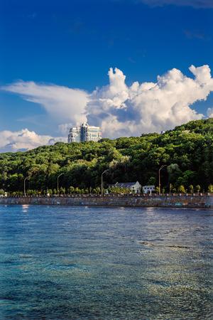 the dnieper: View of Dnieper River in Kiev, Ukraine. Stock Photo