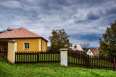 Rural house summer day in Eastern Europe.