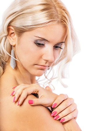 bared: Girl with bared shoulders, isolated on white background.