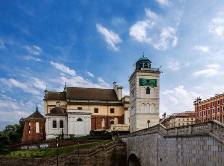 krakowskie przedmiescie: Warsaw Old Town Tower and church St. Anna, Poland